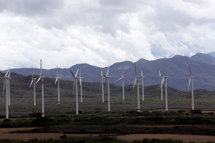Wind turbines at the Comision Federal de Electricidad (CFE) wind farm in La Ventosa, in the state of Oaxaca, Mexico.