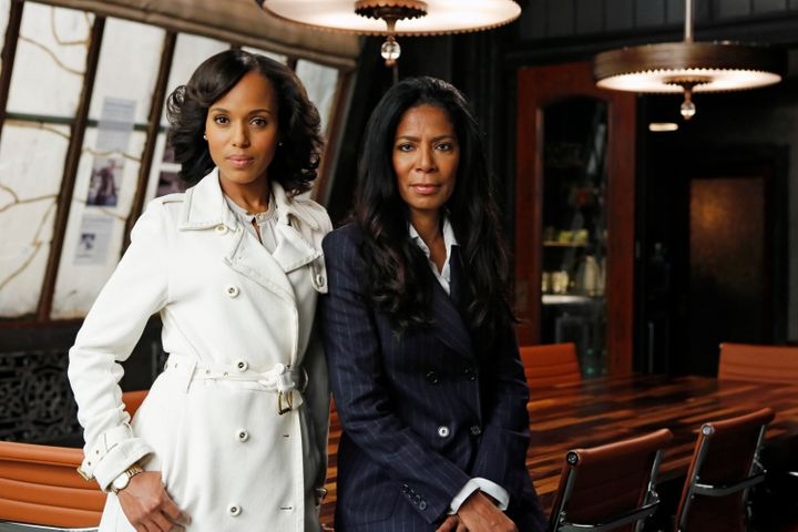 "Kerry Washington and Judy Smith on the set of ""Scandal."""