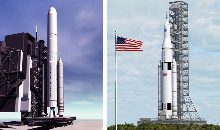 Designed in the 1990s, Magnum (left) was a heavy lift NASA rocket based on existing space shuttle technologies that could hav