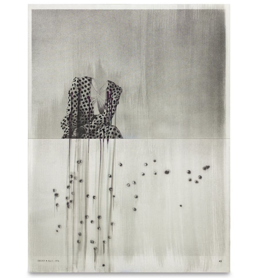 "Lorna Simpson, ""Polka Dot & Bullet Holes #2, 2016,"" India ink and screen print on Claybord."