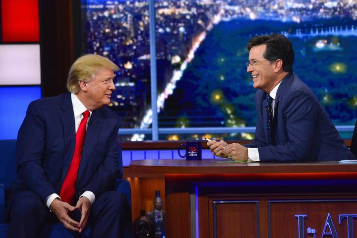 Donald Trump visits The Late Show with Stephen Colbert in 2015.
