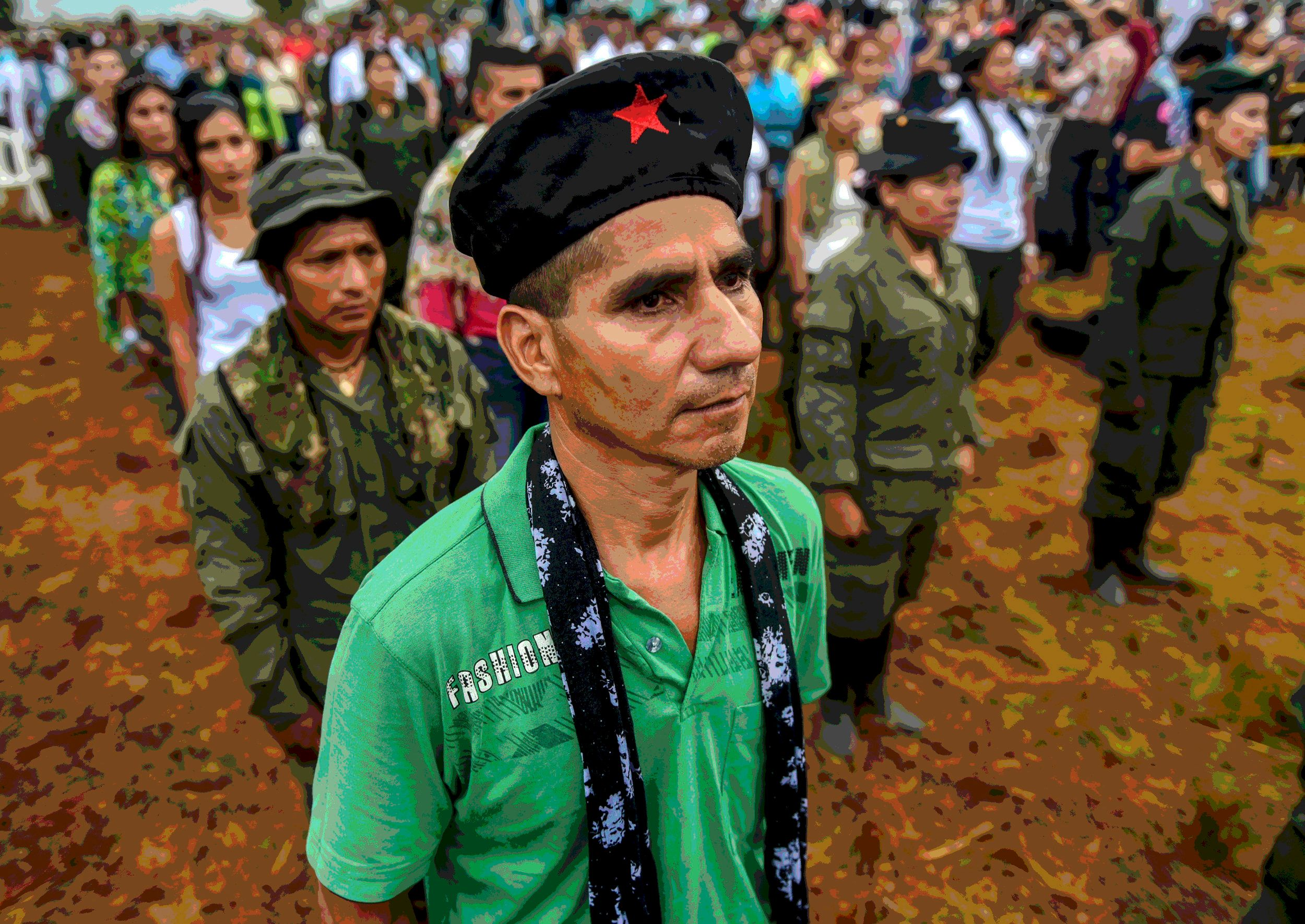 FARC members attend the opening ceremony of what leaders hope will be their last conference as a guerrilla army in the Yari Plains on Sept 17