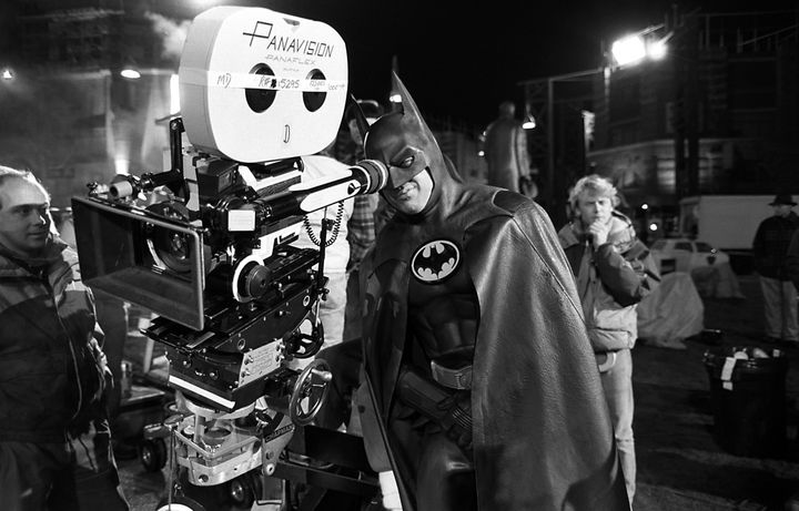 """Michael Keaton peers in to the camera on the set of """"Batman."""""""