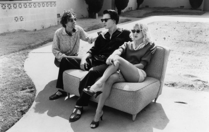 """Tim Burton directs Johnny Depp and Sarah Jessica Parker in a scene from """"Ed Wood."""""""