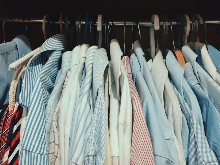 An example of a closet that's overcrowded. A quarter of an inch of space on each side of the hanger is optimal.