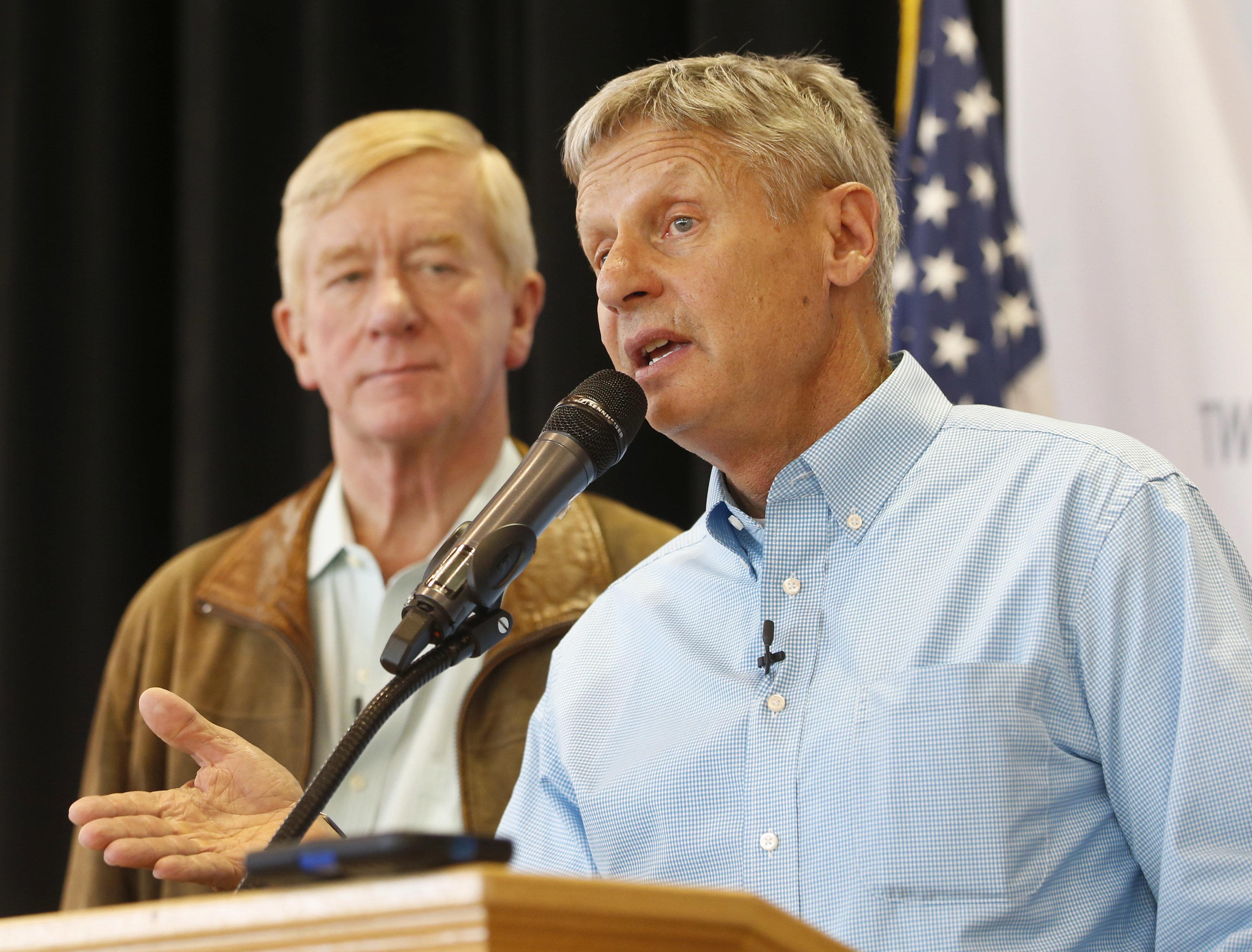 Bill Weld, left, is Gary Johnson's running mate.