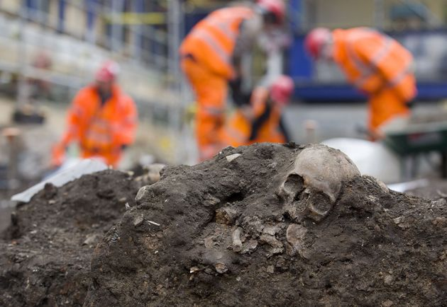 A human skull found during excavation work at the Bedlam burial ground in London on March 17,