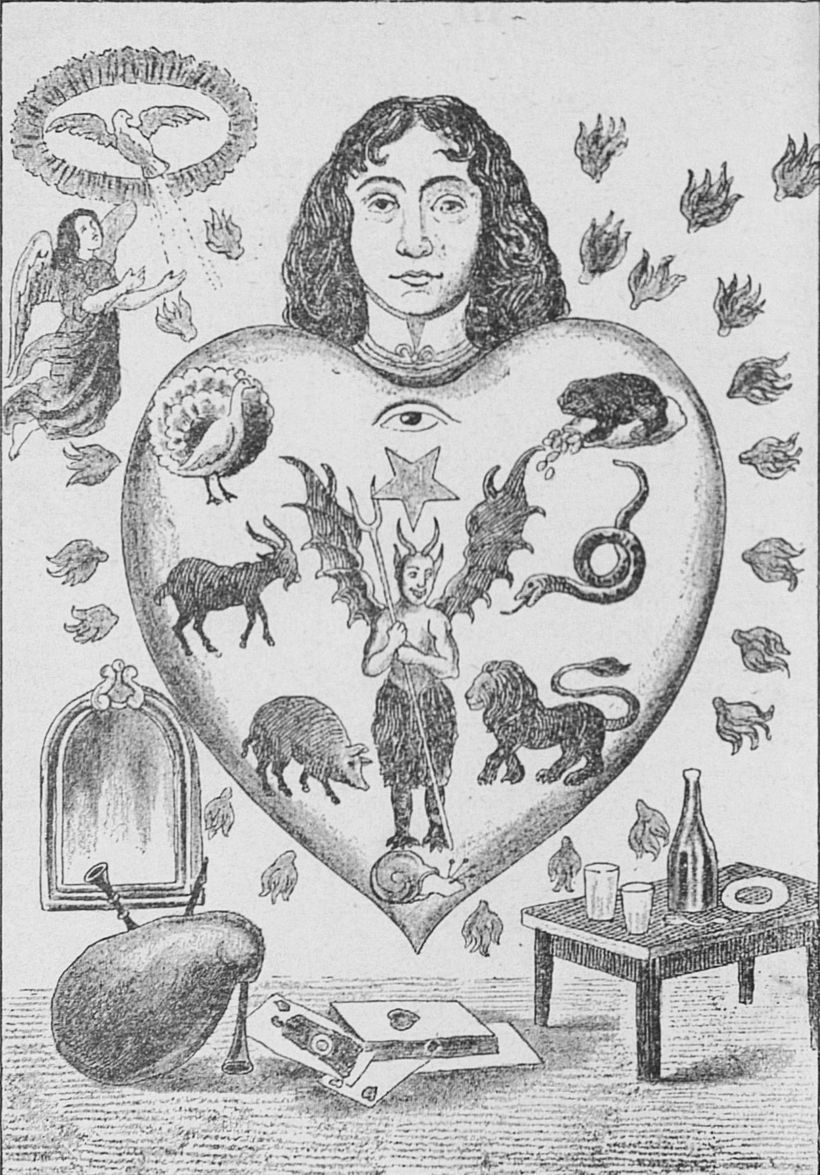 """An allegorical image depicting the human heart subject to the seven deadly sins, each represented by an animal."""