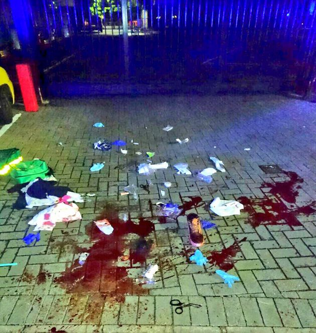 The aftermath of a stabbing in north London that left a young man with suspected 'life changing'