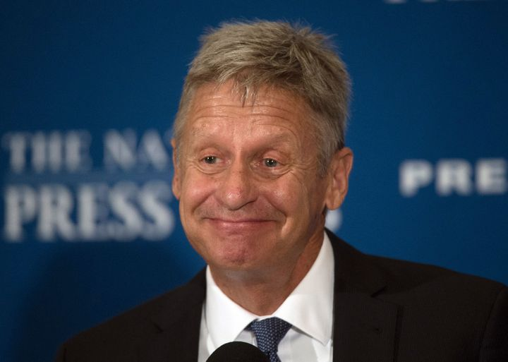 US Libertarian Party presidential candidate Gary Johnson speaks at a National Press Club Luncheon on July 7, 2016, in Washing