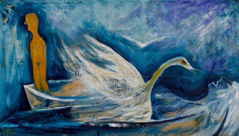 Swan Song 1992 Oil on canvas tarpaulin 65 1/2 x 112 1/2 in. (166.4 x 285.8 cm)