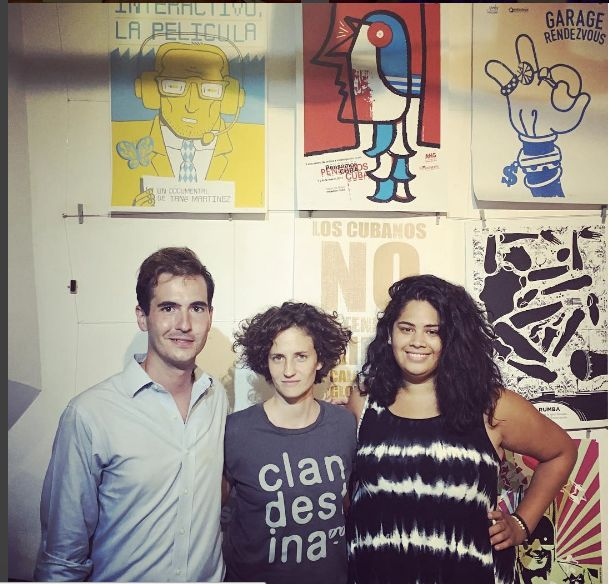 From left: Daniel Jimenez, Idania del Rio, co founder of Clandestina, a privately owned design store in Habana Vieja, Cherie