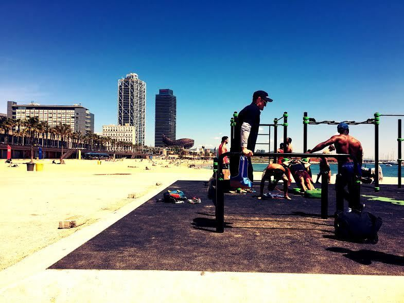 Beach gym in Barcelona, Spain