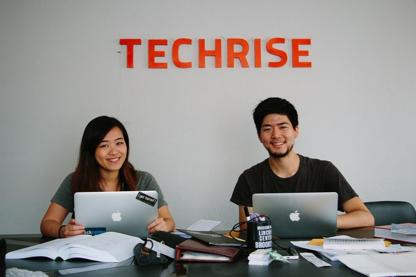"""<strong>Robyn</strong> (left) and <strong>Takehiro</strong> (right) are co-founders of <a href=""""http://www.techrise.me/"""" targ"""