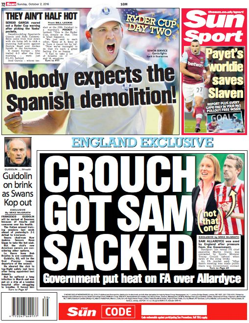 The Sun on Sunday's sports section splash: 'England exclusive - Crouch got Sam