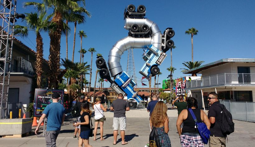 Festival-goers take in Big Rig Jig by Mike Ross.