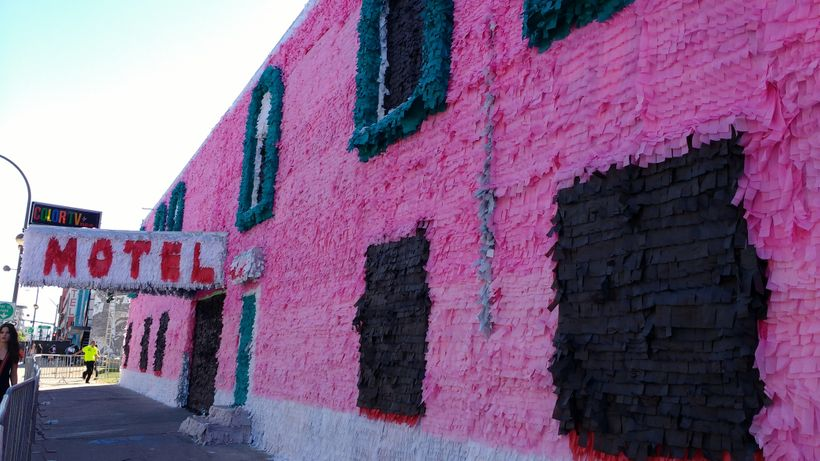 Justin Favela and his team transformed the Art Motel piñata-style.