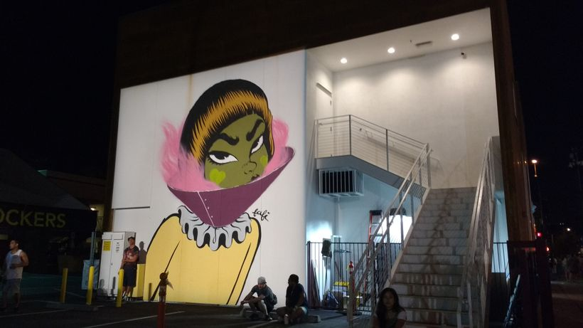 A fresh new wall is now home to this work by Fafi.