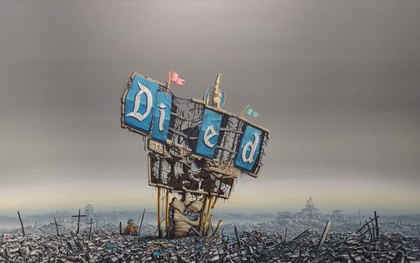 """Jeff Gillette's Disneyland Sign """"Died"""", in Crime on Canvas group show curated by M Modern."""