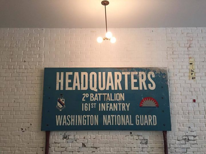 An old sign on display inside Foundation Church in Seattle