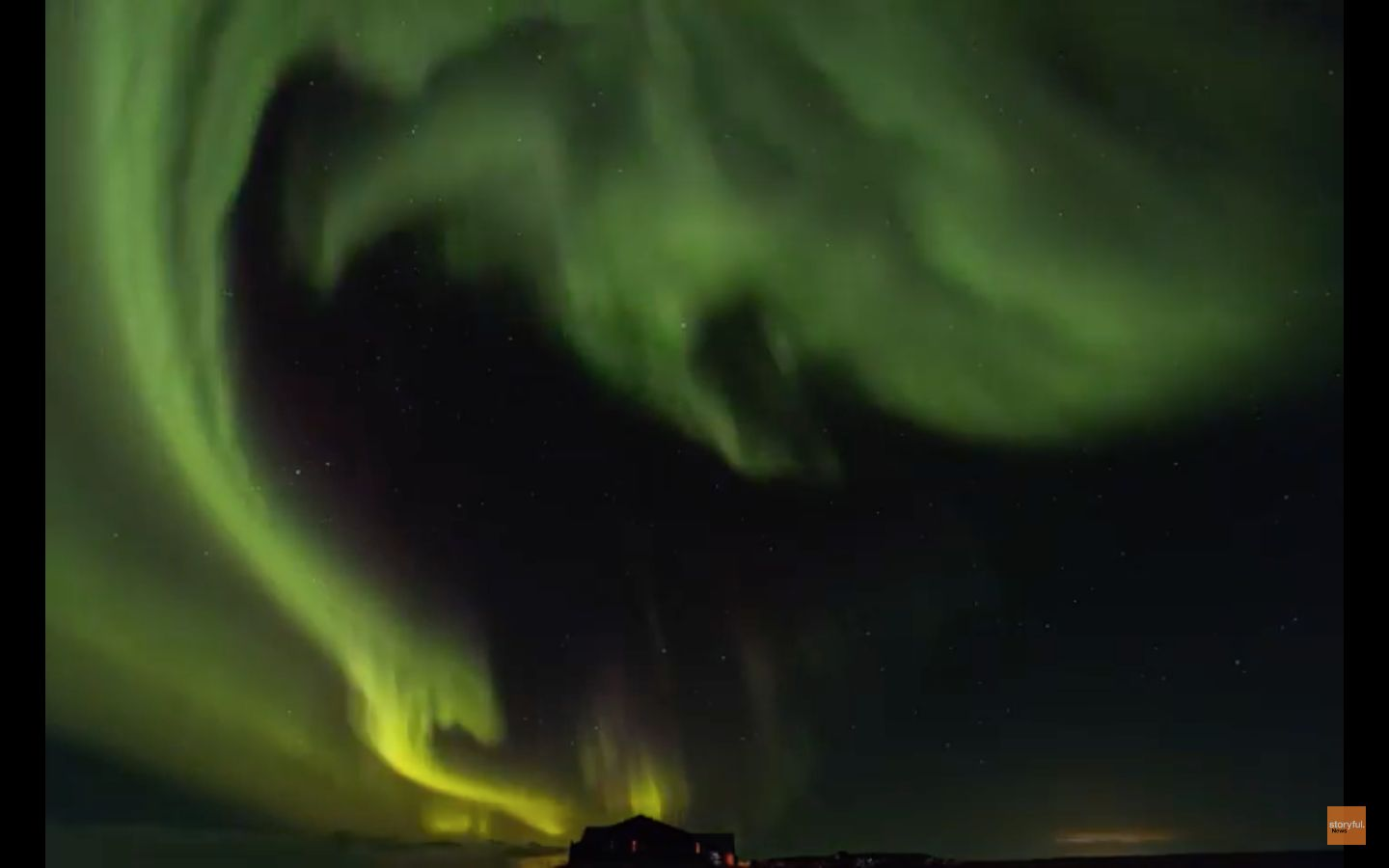The northern lights are seen lighting up the skies over Iceland