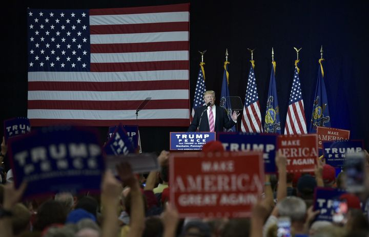 Republican presidential nominee Donald Trump tells his audience in Manheim, Pennsylvania, Saturday that he pays for his campa