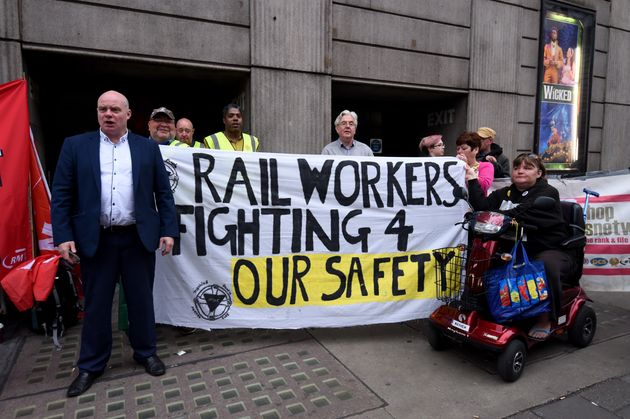 Southern Rail employees and union members take part in a strike against their company working practices...