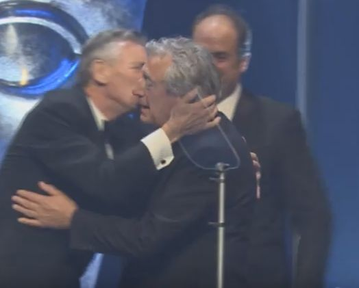 Terry Jones received his award from longtime pal Michael Palin, before his son thanked the audience on...