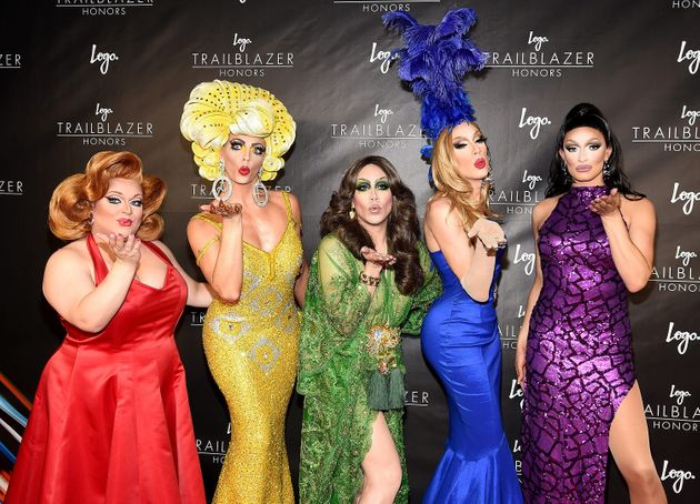 Phi Phi O'Hara (in green), poses with her fellow 'All Stars' competitors, Ginger Minj, Alyssa Edwards,...