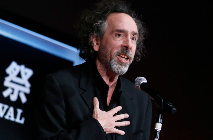 Director Tim Burton speaks as he receives the SAMURAI award during the closing ceremony of the Tokyo International Film Festi