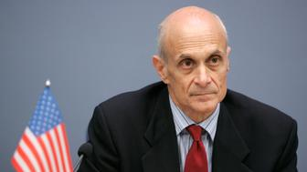 US Homeland Security Secretary Michael Chertoff listens to a question during news conference in Riga October 29, 2008. REUTERS/Ints Kalnins (LATVIA)