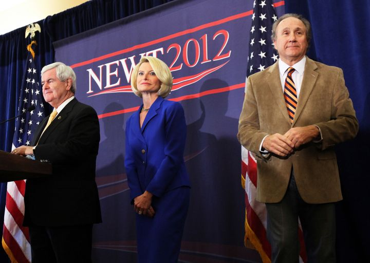 Michael Reagan campaigns in 2012 with then-U.S. Republican presidential candidate and former Speaker of the House Newt Gingri
