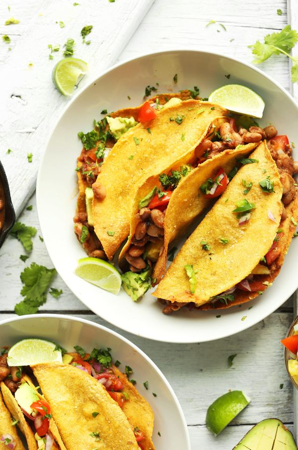 "<strong>Get the <a href=""http://minimalistbaker.com/crispy-baked-tacos/"" target=""_blank"">Crispy Vegan Baked Tacos recipe</a>&"