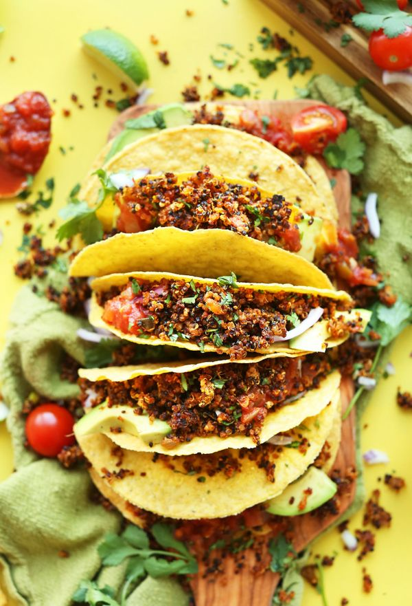 "<strong>Get the <a href=""http://minimalistbaker.com/quinoa-taco-meat/"" target=""_blank"">Quinoa Taco Meat recipe</a> from"