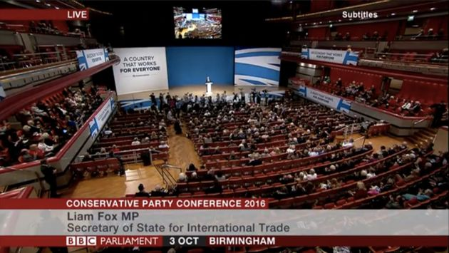 Liam Fox Delivers Key Note Speech To A Half-Empty