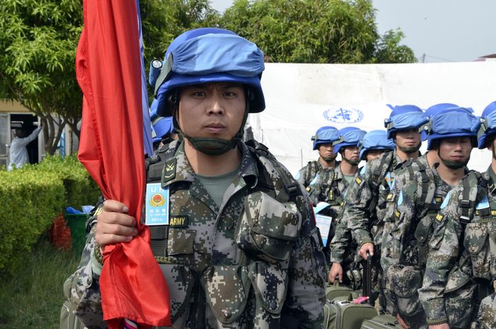 One-hundred and thirty Chinese peacekeeping troops arrive at Juba International Airport on April 8, 2015, as part of a U
