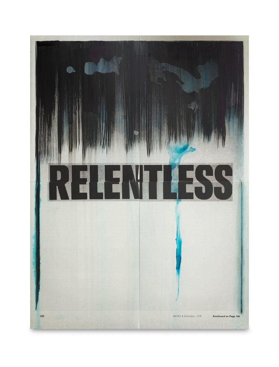 """Lorna Simpson, Relentless,"" 2016. India ink and screenprint on claybord"