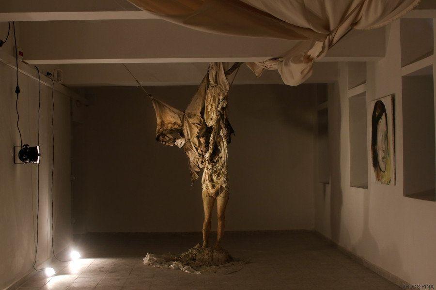 """In rem scripta:Paintings"" by Desi Civera and sculpture by Joaquín Jara."