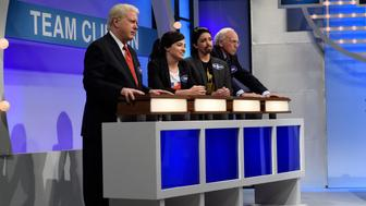 SATURDAY NIGHT LIVE -- 'Margot Robbie' Episode 1705 -- Pictured: (l-r) Darell Hammond as Bill Clinton, Melissa Villaseñor as Sarah Silverman, Cecily Strong as Lin-Manuel Miranda, and Larry David as Bernie Sanders during the 'Celebrity Family Feud' sketch on October 1, 2016 -- (Photo by: Will Heath/NBC/NBCU Photo Bank via Getty Images)
