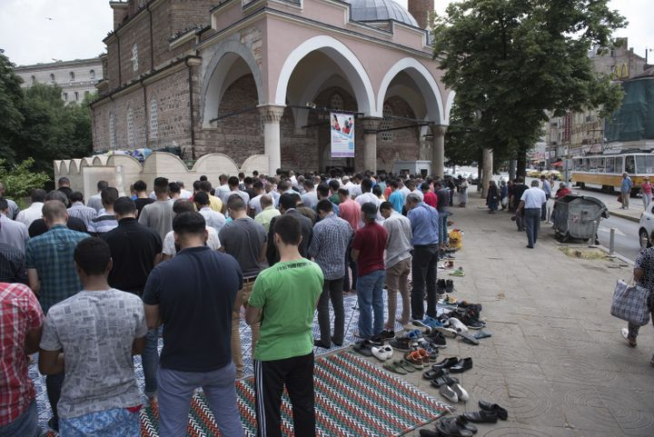 Muslims perform the Friday Prayer during the Muslim holy fasting month of Ramadan in Sofia, Bulgaria on June 24.