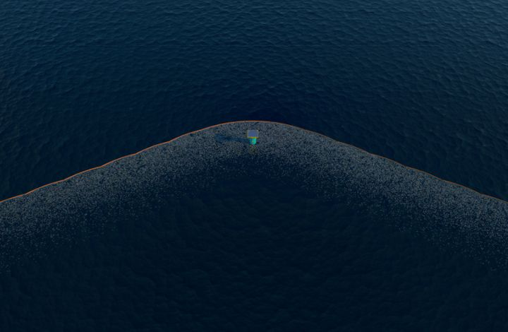 An artist impression of the Pacific cleanup technology.