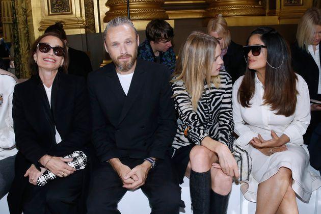(L-R) Kristin Scott Thomas, husband of Stella, Alasdhair Willis, Natalia Vodianova and Salma