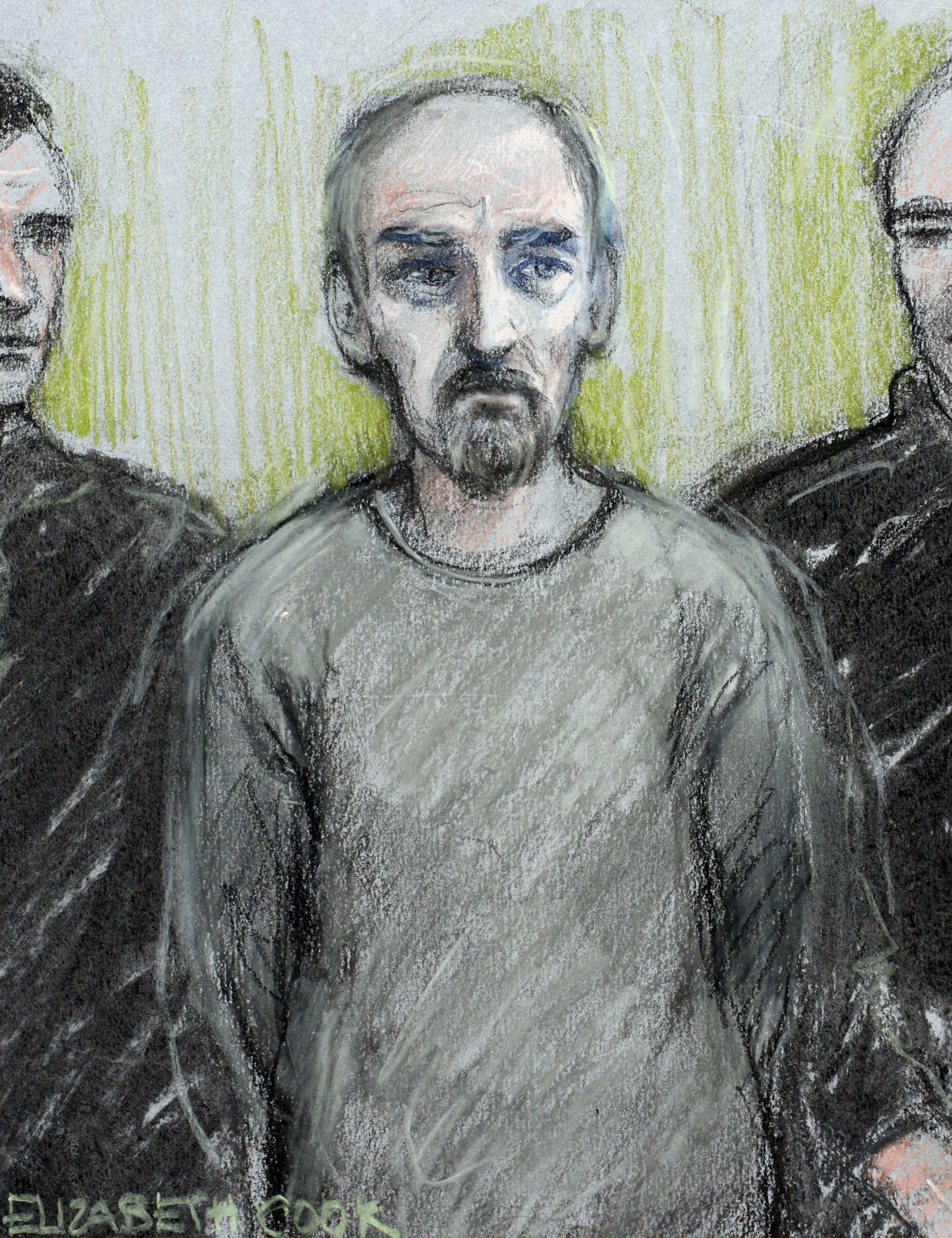 A court sketch of Thomas Mair who is due to enter a plea today over the murder of MP Jo