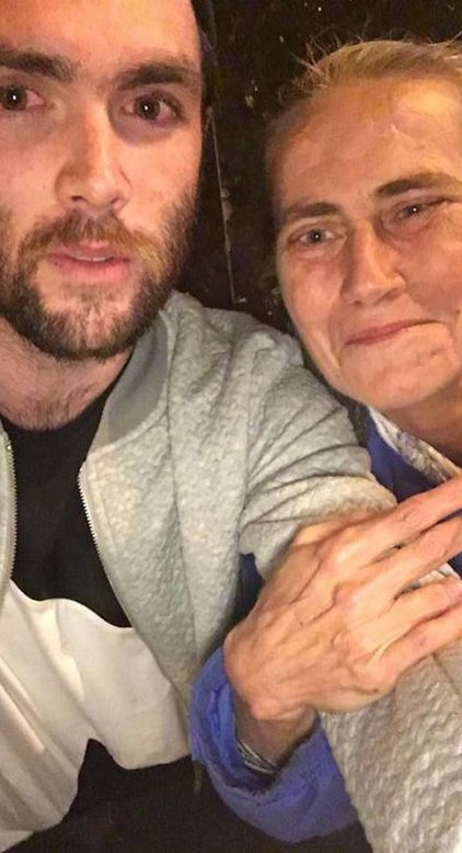 Jonathan Pengelly with Polly, the homeless woman he met at