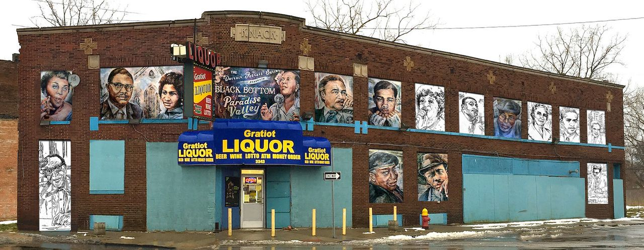 A series of portraits by Nicole Macdonald in a building on Gratiot Avenue in Detroit, painted for Murals in the Market.
