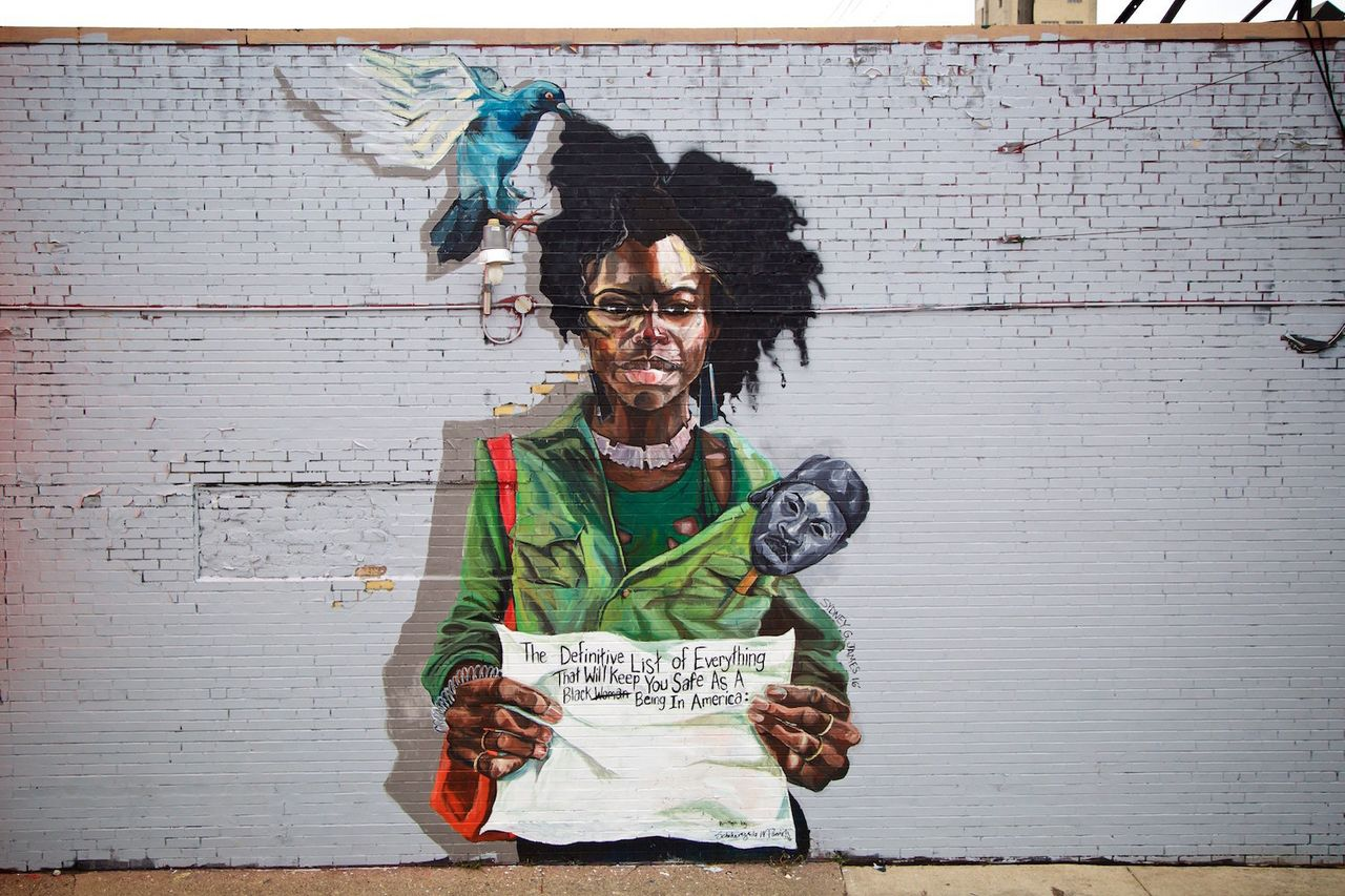 """Detroit painter Sydney G. James' mural, """"Appropriated Not Appreciated,"""" with text by writer Scheherazade Washington Parrish."""