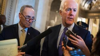 UNITED STATES - SEPTEMBER 28: Senate Majority Whip John Cornyn, R-Texas, right, and Sen. Charles Schumer, D-N.Y., talk with reporters in the Capitol after the Senate voted to override President Obama's veto of the Justice Against Sponsors of Terrorism Act (JASTA), September 28, 2016. (Photo By Tom Williams/CQ Roll Call)