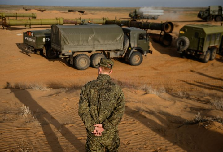 An S-300PM air defence missile system during a joint military drill by Air Force and Air Defence Force units of Russia's Cent