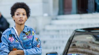 PARIS, FRANCE - OCTOBER 03: model Lineisy Montero wearing a denim jacket with patches outside Stella McCartney on October 3, 2016 in Paris, France. (Photo by Christian Vierig/Getty Images)