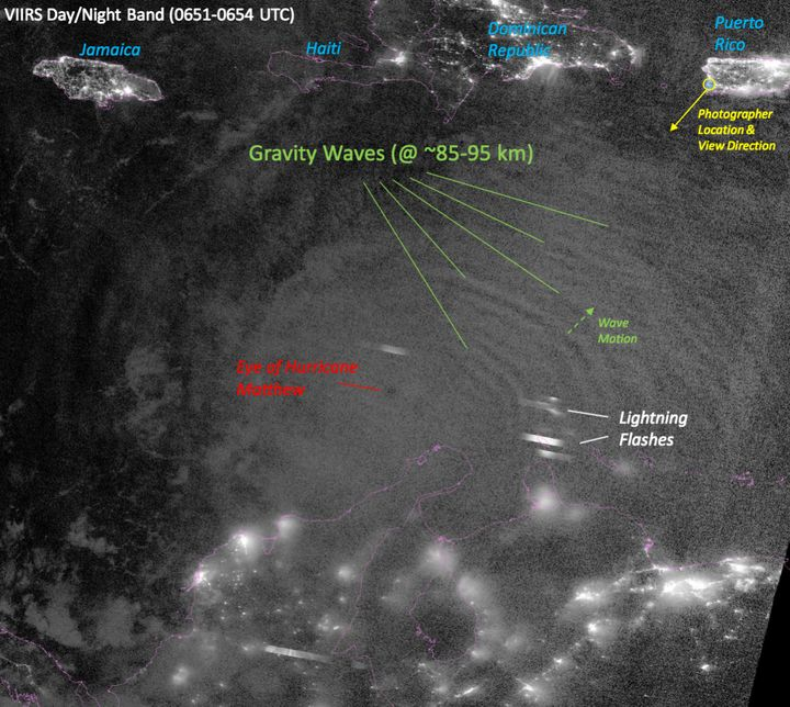 This satellite image shows the photographer's location (top right) as well as the site of the gravity waves, lightning flashe